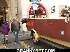 Hot 60 years old grandma in stockings