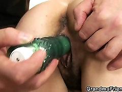 Old 69gey sex takes both cocks after pussy toying