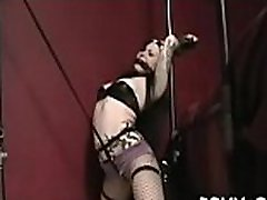 Ballgagged and unable to move, this doxy gets stimulated
