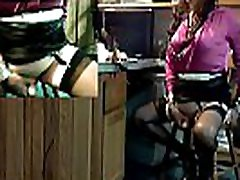 Black Heels, Black Stockings, Black Skirt, and 15 Inch Black Dildo Make Kim Dazy Squirt