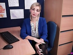 Lewd lusty office whore Dolly is eager to flash her skoli xxx hot titties at work