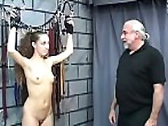 Exposed woman spanking clip with extreme bondage