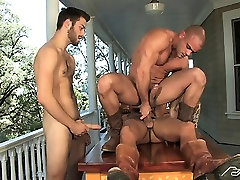 Damien gags on his 2 friends dicks before flip-flop fucking