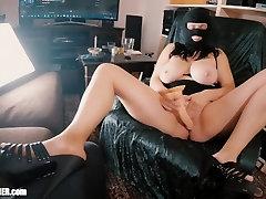 Big boobed Mom-Slut Britney Masturbates & Swallows in a Spandex Fetish Mask