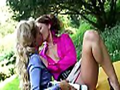 Lesbian stunner plays with two big toys on her wet bawdy cleft
