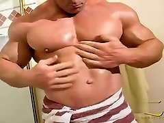 Con Demetriou posing in bangbros clean bathroom
