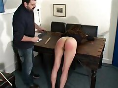 Two girls spanked OTK and strap