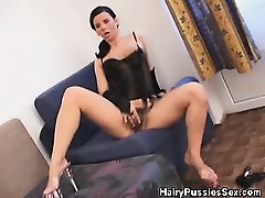 Hairy Pussy Babe In Lingerie Fucked By A Black Dude