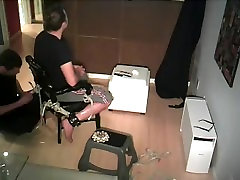 Young straight stud tied up to chair by gay roommate - bondage dude escape