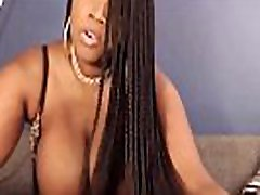 Chunky black Blaze spanking huge boobs and clapping booty