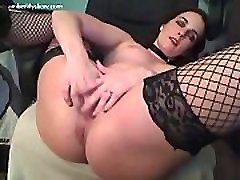 Amber Lily in fishnet stockings plays with shemale and boy xxx toy
