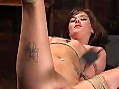 Brunette aleksa nicole brazzer squirt hosing fucked in rope bondage training