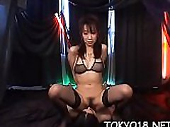 Cute teen in heats gets two asian dicks to smash her love tunnel