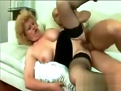 doggystyle stockings Grandma Gets Her Pussy Filled By A Rock Hard Young