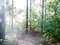 chubby girl with big booty walking nude in forest