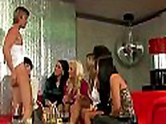 Excited babes share a dick and lick every other up at force yo mom party