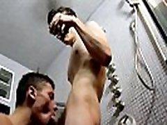Boy licks his cum out of grandpa ass gay porn Bathroom Bareback
