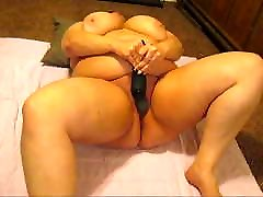 Vibrating her hairy BBW pussy