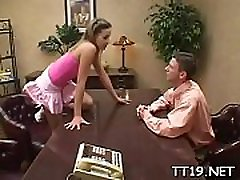 Breathtaking schoolgirl rides a big hard pole wildy with her wazoo