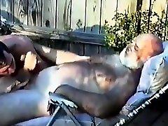 Daddy bear getting blown outside