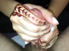 Perfect Hands with Henna Tattoos jerking my Cock - awesome Handjob skills!