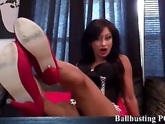I will teach you a lesson with a hard ballbusting