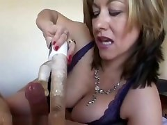 Mature hard fucking with new porn made him cum without jerking his dick