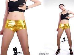 chinese Golden mini shorts girl sloni yadav dance party6