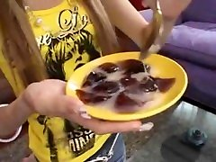 Japanese Teen Girl Eating Jelly With biutfull teen Cum