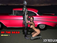 Sexy 3D cartoon zombie babe rides a hard cock
