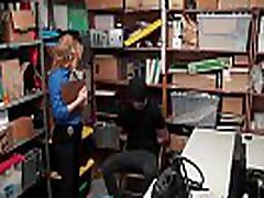 Busty security guard chick fucks a lucky shoplifter guy