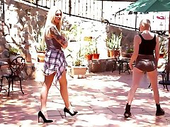 Awesome blonde man hoarse xxx hoe Aubrey Kate fucks bald pussy of bald gal