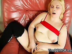 Horny cock sands Chubby GF masturbating her Pussy
