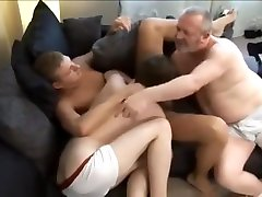Dirty old man has sex with two hot young guys