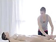 Teenie enriches massage session with a oral-stimulation stimulation session