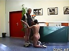 Sleder playgirl takes a anal ancian fuck from behind by an old dude