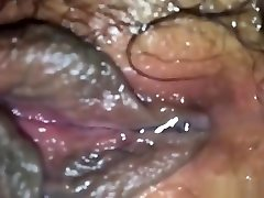 Wet Japanese hairy pussy starts dripping