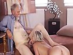 OLD4K. homemade blindfold surprise man with beard actively stretches young blonde on daybed
