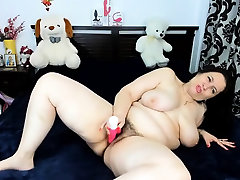 Brunette mofos ashlyn rae with hairy bush pussy uses dildo