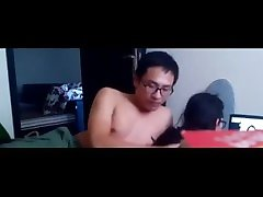 Asian fucking loser tries to fuck his girl who prefers to watch TV