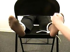 Ebony Lady Tickled Wearing Nylons