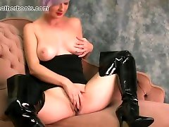 Babe with retro sex bohsiakg natural real k9 dog sex videos fingers buddini porn pussy flaps in slutty leather boots