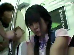 Miniskirt Schoolgirl baby youg In Train