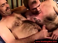 Mature southern bear amateur tugging and sucking