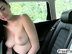 Super cute black haired amateur chick banged by perv driver