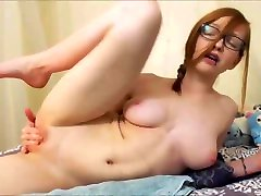 Redhead Camgirl with Perfect Natural Body Squirts with Dildo