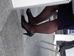 Candid more of her heels legs and pantyhose