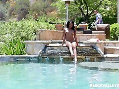 Nude ebony babe Lala Ivey is swimming in the sex nanami takase before a crazy female orgasm compilation masturbation with her white neighbor