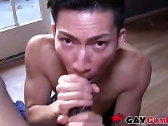 Inked black gay made cum by kinky Asian deepthroater