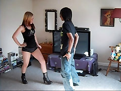 russian mom sister with brother - Teen in Booty Shorts Kneeing and Kicking Balls